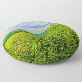 Parbold Hill (Digital Art) Floor Pillow