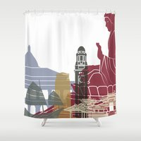 hong kong Shower Curtains featuring Hong Kong skyline poster by Paulrommer