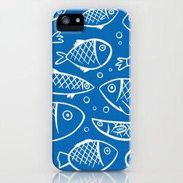 Fish blue white iPhone Case