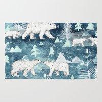bears Area & Throw Rugs featuring Ice Bears by Sandra Dieckmann