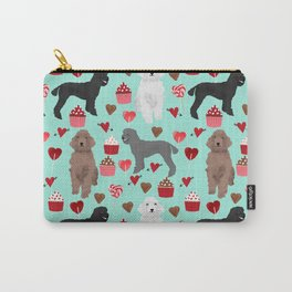 Poodles valentines day love hearts cupcakes pattern dog breed art print gifts for dog lover poodle Carry-All Pouch