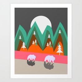 Bears walking home Art Print