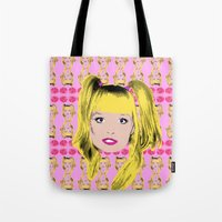 spice girls Tote Bags featuring Spice World - Emma Baby Spice by Binge Designs Homeware