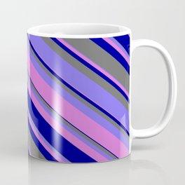 Medium Slate Blue, Orchid, Dark Blue & Dim Grey Colored Stripes/Lines Pattern Coffee Mug