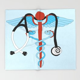 medical caduceus and stethoscope Throw Blanket