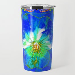 Cerulean Blue Pansy Yellow Abstract & Butterflies Travel Mug
