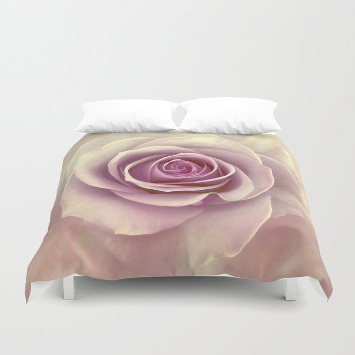 Tea Rose Painterly Abstract Duvet Cover