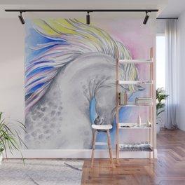 Rainbow Arabian Horse watercolor Art Wall Mural