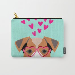 Jack Russell Terrier valentines day hearts love dog lover dog person gifts for valentine Carry-All Pouch