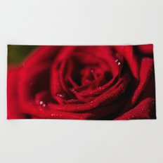 Fire-Red-Rose - Roses Flowers Beach Towel