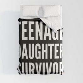 Teenage Daughter Survivor (Black & White) Comforters