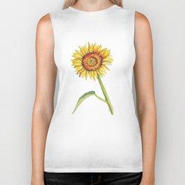Watercolour Sunflower  Biker Tank