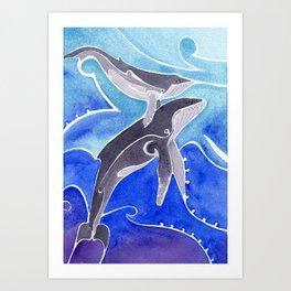 Polynesian humpback whale and calf Art Print