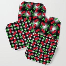 Rockabilly Black + White Gingham & Cherries Coaster