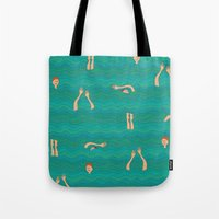swimming Tote Bags featuring Swimming by Mimi