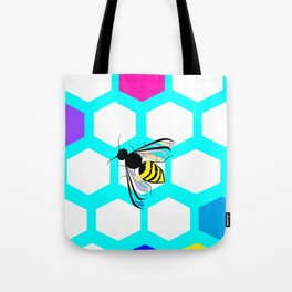 A Many Colored Honeycomb and Bee Tote Bag