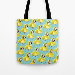 corgi in rain coat Tote Bag