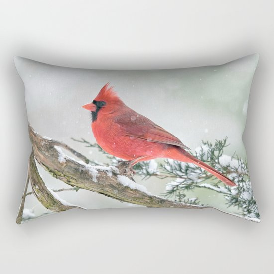 Cardinal Holding Steady in the Storm Rectangular Pillow