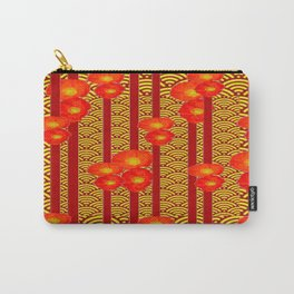 Red Poppies Stripes Yellow Asian  Pattern Art Design Carry-All Pouch