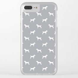 Jack Russell Terrier grey and white minimal dog pattern dog silhouette pattern Clear iPhone Case
