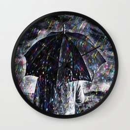 A Hard Rain Is Gonna Fall (Man with Umbrella) Colorful Rain portrait painting Wall Clock