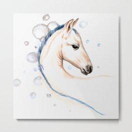 Horse Bubbles Metal Print