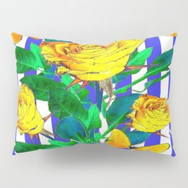 YELLOW SPRING ROSES & BUTTERFLIES WITH LILAC STRIPES Pillow Sham