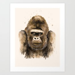 Respect: portrait of a silver back gorilla, handmade watercolor and tea-stained painting. Art Print
