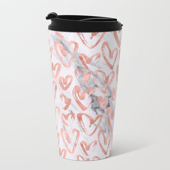 Hearts Rose Gold Marble Metal Travel Mug
