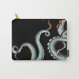 Teal Tentacles Octopus On  Black Carry-All Pouch