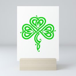 Pretty Celtic Knot Style Shamrock Irish Pride Mini Art Print