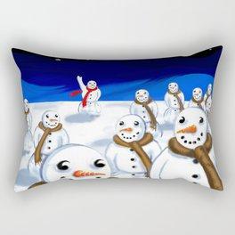 Snowmen Gathering Rectangular Pillow