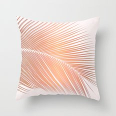 Palm leaf - copper pink Throw Pillow