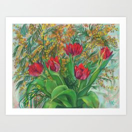 Mimosa and Tulips, Spring Flowers Art Print
