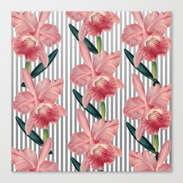Pink Orchids And Grey Pinstripes Canvas Print