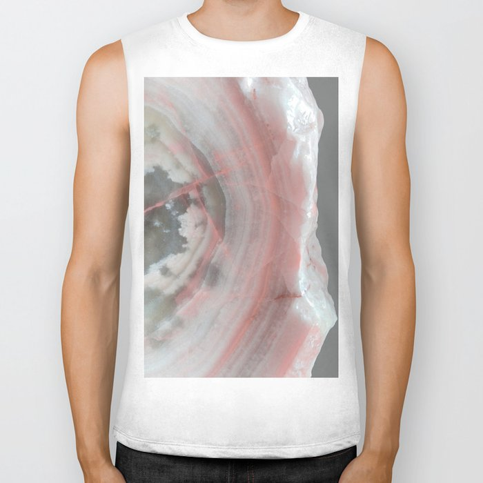 Grey Marble with Pink Biker Tank