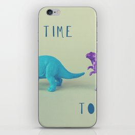 Make Time to Play - Blue and Purple Dino on Green iPhone Skin