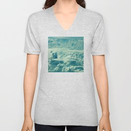 Verdant Green Magical Clouds Floating in Mystical Sky Unisex V-Neck