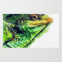 chameleon Area & Throw Rugs featuring chameleon by jbjart