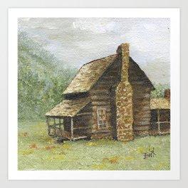 Log Cabin in Smokies Art Print