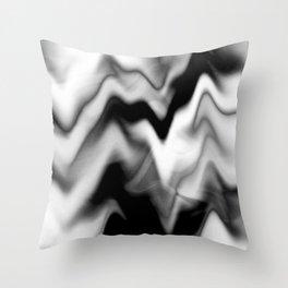 Black and White Gradient Abstract Wavy Chevron Gray Mountain Scenic Pattern Design Minimalistic Throw Pillow