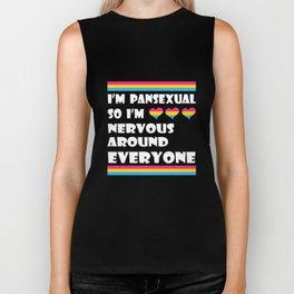 LGBT T-Shirt I'm Pansexual So I'm Nervous Around Everyone Biker Tank