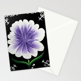 Large Flower Filigree Scroll Floral Art Acrylic Painting Purple Flower Stationery Cards