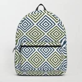 Olive green, teal and white diamond rhombus pattern Backpack