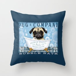 Pug dog bubble bath clawfoot tub art stephen fowler Throw Pillow