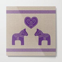 Christmas Purple Dala Horses on Burlap Metal Print