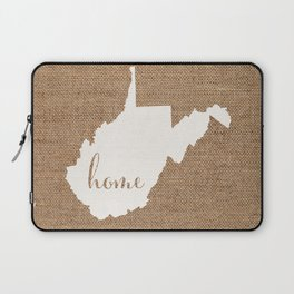 West Virginia is Home - White on Burlap Laptop Sleeve