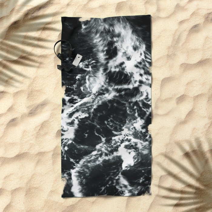 Waves - Black and White Abstract Beach Towel