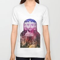 christ V-neck T-shirts featuring Thrice Christ by EclecticArtistACS