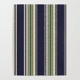 Navy blue and sage green stripes Poster